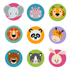 Big set head of animals icons. Vector collection funny face of animals. Cute face of animals: forest, farm, domestic in cartoon style. Giraffe, elephant, hippo, rabbit, tiger, lion, panda, cat