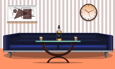 Interior. Decoration of the room. Abstract object. Blue sofa. Exclusive table. Glass with ice. Bottle with a liquid. Vector illustration.