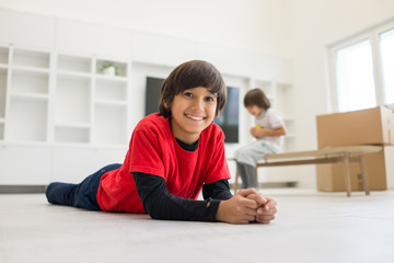 Child inside interior of modern home