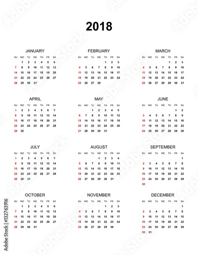 Calendar Year Names : Quot simple color calendar for the year names of