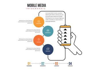 Flat Mobile Media Infographic