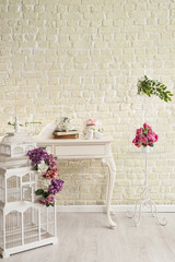 decorative wedding table and brick wall concept