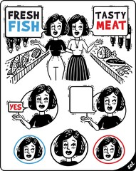 two women talking and show the meat and fish comics set