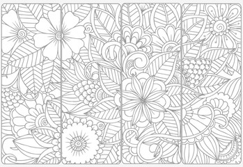 Vector set of monochrome bookmarks .Floral doodling for coloring