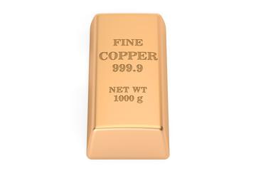 copper ingot, 3D rendering