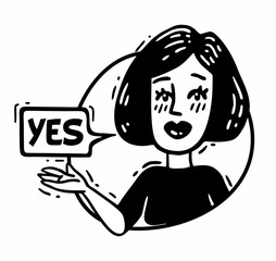 woman says yes and shows a hand comics