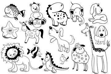 Сartoons, animals ,contour illustration