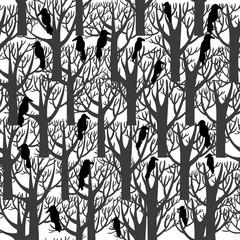 ravens sitting on tree seamless