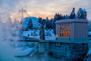 Winter dawn over Riverfront Park in downtown Spokane