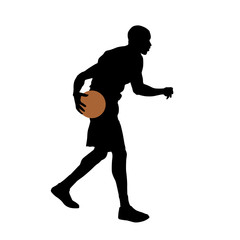 Basketball player standing and dribbling the ball, vector silhou