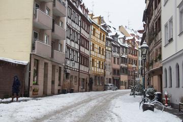 Colorfull street of Nuremberg in winter time. Bavaria. Germany.