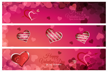 Vector set of greeting bookmarks for Valentine's Day on the abstract red and pink background with heart shape and text.