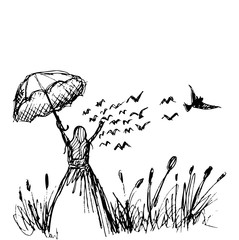 Young girl in the meadow with birds flying bird. Hand drawing illustration.