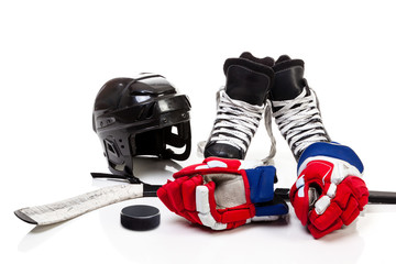 Ice Hockey Equipment Isolated on White Background