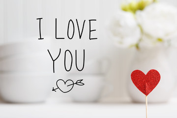 I Love You message with small red heart