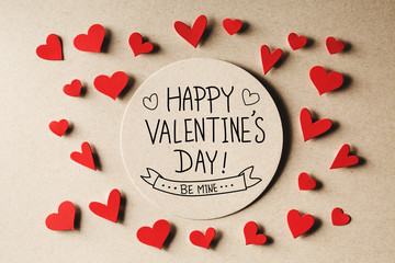 Happy Valentines Day message with small hearts