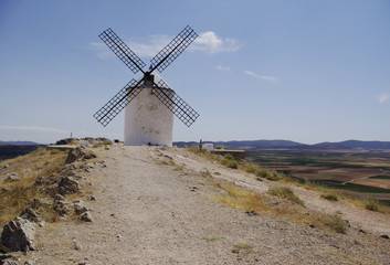 White windmills in La Mancha, near Consuegra, Spain.