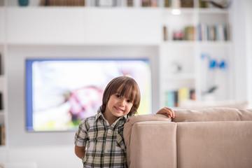 Cute little child at beautiful modern home