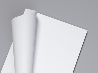 White sheet with curled corner. 3d rendering