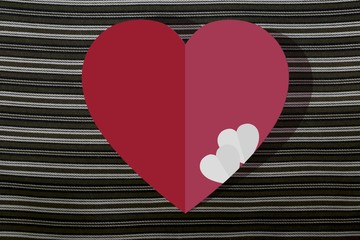 Valentine's day abstract background with cut paper red heart.
