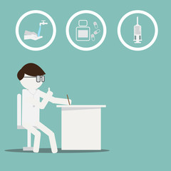 Male doctor sit on chair. Vector illustration of a doctor and group of sign.