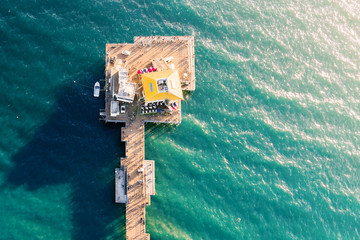 Aerial view of an ocean pier