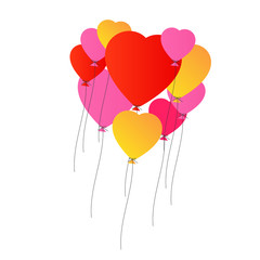 Envol de ballons en forme de coeurs