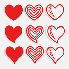 Heart Shape icon nine form Red isolated on white background.Vector