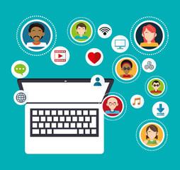 social media group computer communication vector illustration eps 10