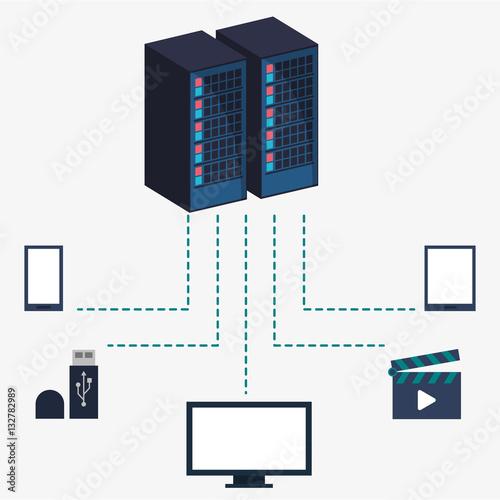 Data Center Server Equipment Storage Information Vector Illustration