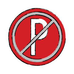 drawing prohibited parking car sign traffic vector illustration eps 10