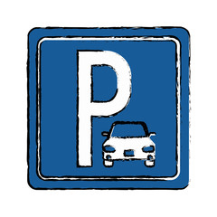 drawing parking sign road street vehicle vector illustration eps 10