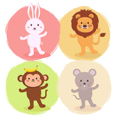 Cute Standing Animal Set Rabbit, Lion, Monkey and Mouse on colorful background vector illustration cartoon