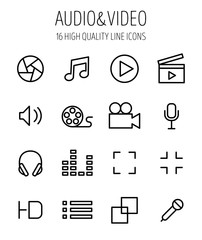 Set of audio and video icons in modern thin line style.