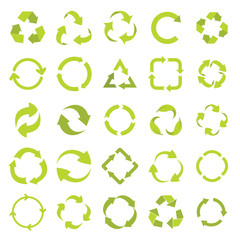 Recycle eco signs set in green flat style. elements of illustration, emblems, infographic.