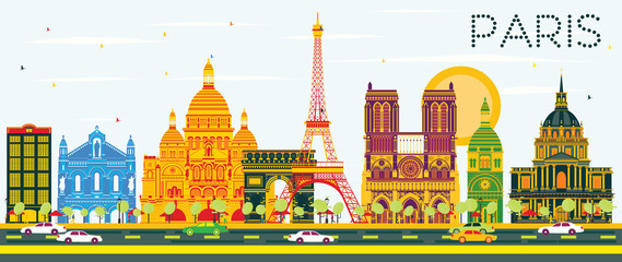 Paris Skyline with Color Buildings and Blue Sky.