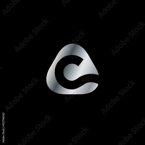 quotinitial letter c rounded triangle logo quot stock image and