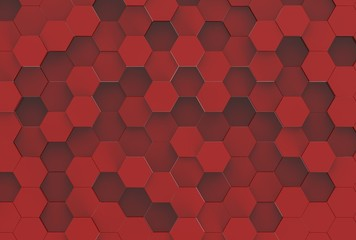Red Hexagon Background Texture. 3d render