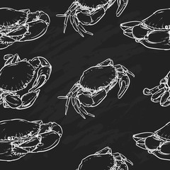 crab pattern including seamless on black background. Hand drawn
