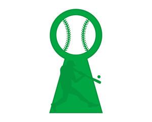 green baseball silhouette keyhole