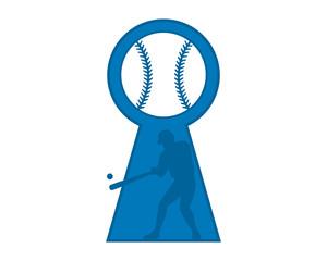 blue baseball silhouette keyhole