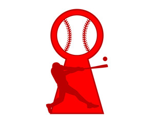 red baseball silhouette keyhole