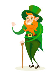 Vector cute leprechaun character funny illustration st. patricks day spring holiday