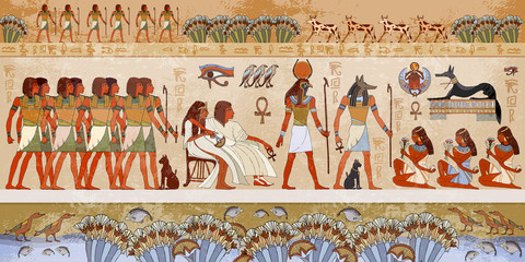 Egyptian gods and pharaohs. Ancient Egypt scene, mythology.