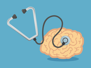 Shape of human brain as organ, which is head of stethoscope.vect
