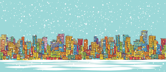 City skyline panorama, winter snowing, hand drawn cityscape, vector drawing architecture illustration