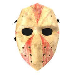 Scary hockey Halloween mask on white. 3D illustration