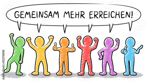 Gemeinsam mehr erreichen – Vektor-Illustration / farbig, bunt / gezeichnet, handgezeichnet, Zeichnung, schraffiert / Design, Vektor, freigestellt