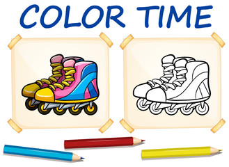 Coloring template with rollerskates