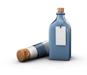 3d Illustration of Mockup blue Glass Bottle, Changeable Color of bottle